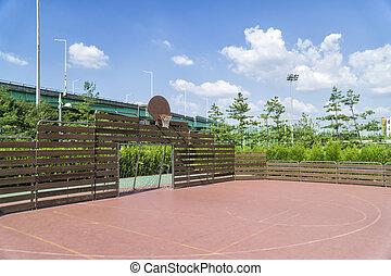 futsal, y, baloncesto, arena,