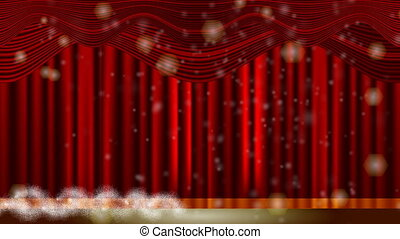 christmas tree and red curtain