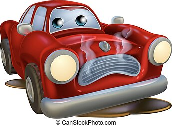 Sad broken down cartoon car - A sad broken down cartoon car...