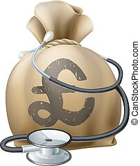 Pound Money Sack and Stethoscope