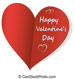 Red valentines day card on white background, vector