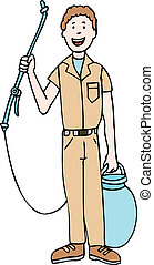 exterminator cartoon man isolated on a white background.