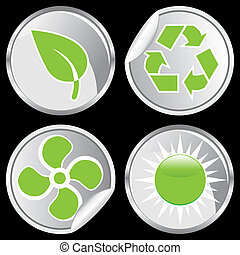 green energy sticker set isolated on a black background.