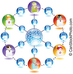 Wireless Internet Medical Network isolated on a white...