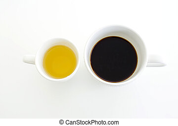 concept tea and coffee cup on white background