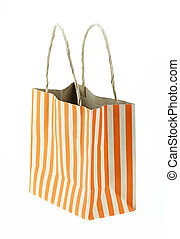 Brown paper bag orange stripes isolated on white