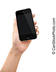 Women hand holding phone action over white background