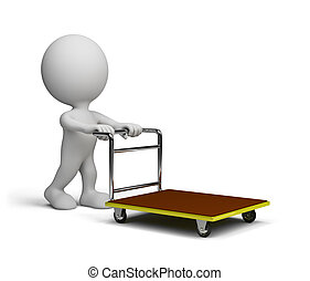 Man pushes a trolley - A man with a handcart goes shopping...