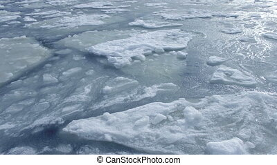 Ice blocks float. - On a water surface. High quality and...