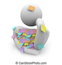Person Trying to Remember - Sticky Notes - A person covered...