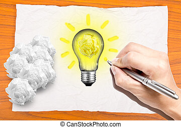 writing your idea on paper crumpled for creative your work