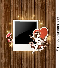 Photo and Cupid for Valentines day - Decorative wooden...