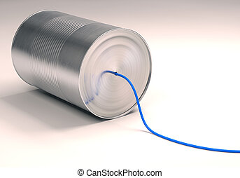 Can Telephone - Can telephone with blue wire. Clipping path...