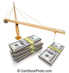 Investment - Building crane making dollars pile. Clipping...