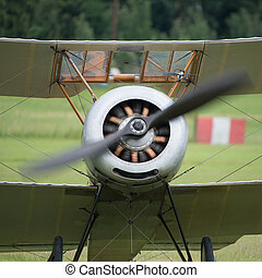 Vintage rotary engine on a Sopwith Pup British fighter