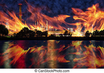 Ecological disaster - Fire at oil refining plant - abstract...