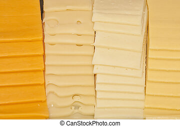 Four Kinds of Sliced Cheese - Four kinds of sliced cheeses...