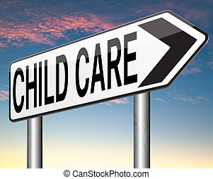 child care or protection in daycare or crèche by nanny or...