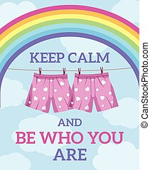 keep calm illustration blue sky and rainbow background
