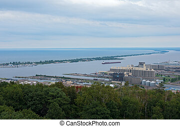 Aerial of Canal Park and Duluth Harbor - Aerial of Lake...