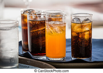 soft drink - many soft drink are on a tray