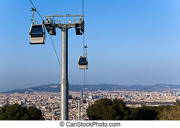Cablecar in Montjuic, Barcelona - View of Barcelona and its...