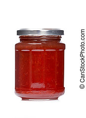 Strawberry jam glass jar reflected on white background