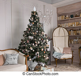 Decorated Christmas tree in a living room - Decorated...