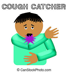 cough catcher illustration - cough catcher flu germ poster...