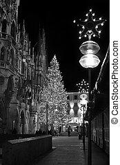 Christmas tree at night with lights Marienplatz in Munich ,...