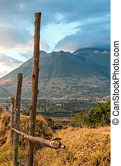 The Imbabura Volcano in the Ecuadorian Andes - View of the...