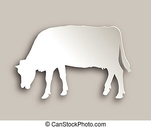 Cow grazing paper style