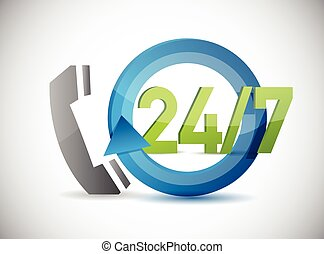 phone 24 7 support illustration design