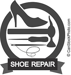 Shoe Repair symbol - Shoe repair business for the vector