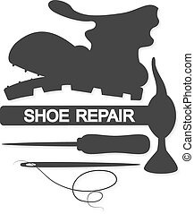 Shoe Repair vector - Shoe repair business for symbol vector