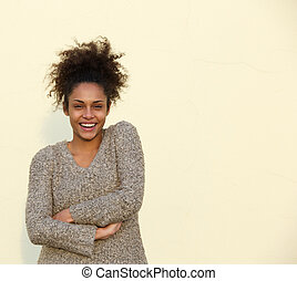 Confident african american woman smiling - Portrait of a...