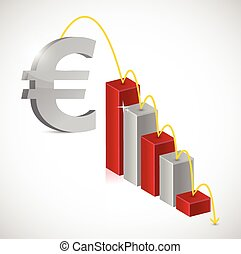 euro price falling graph illustration