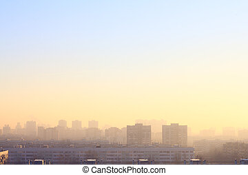 City at misty sunrise - Panoramic view at city at misty...