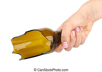Hand holding broken bottle isolated on the white background