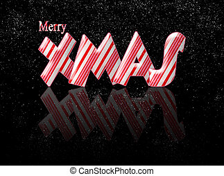 Candy cane merry Xmas Christmas with reflection