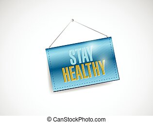 stay healthy hanging banner illustration