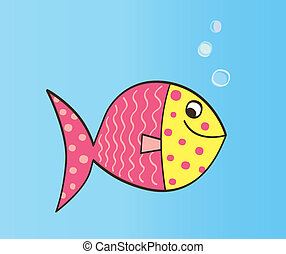 Cartoon Fish - Cute colorful fish. Vector Illustration.