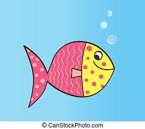 caricatura, peixe
