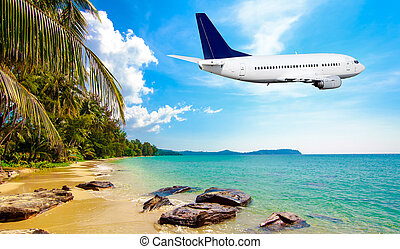 Jet plane over the tropical sea - Jet plane over the...