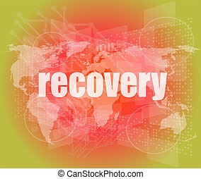 Information concept: word recovery on digital background