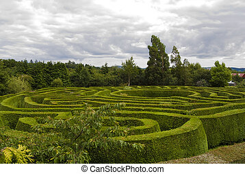 Celtic maze in Wicklow, Ireland. - Panoramic view of a...