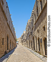 Street of Knights in old town of Rhodes, Greece