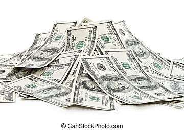 big pile of money dollars over white background