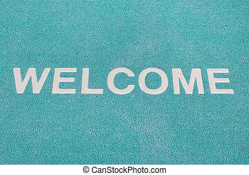 Blue welcome carpet, welcome doormat carpet