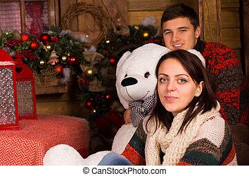 invierno, muñeca, pareja, Sentado, oso, equipo